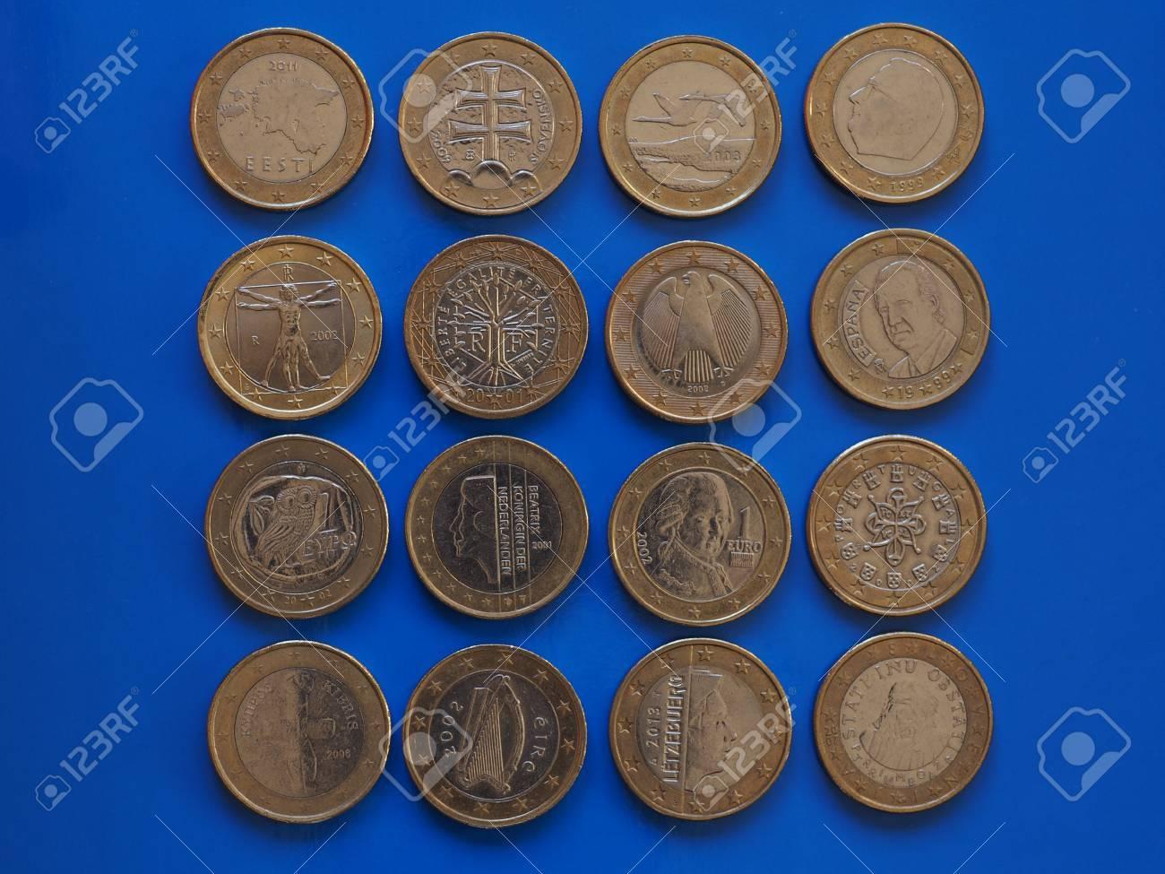 1 Euro Münzengeld Eur Währung Der Europäischen Union Viele