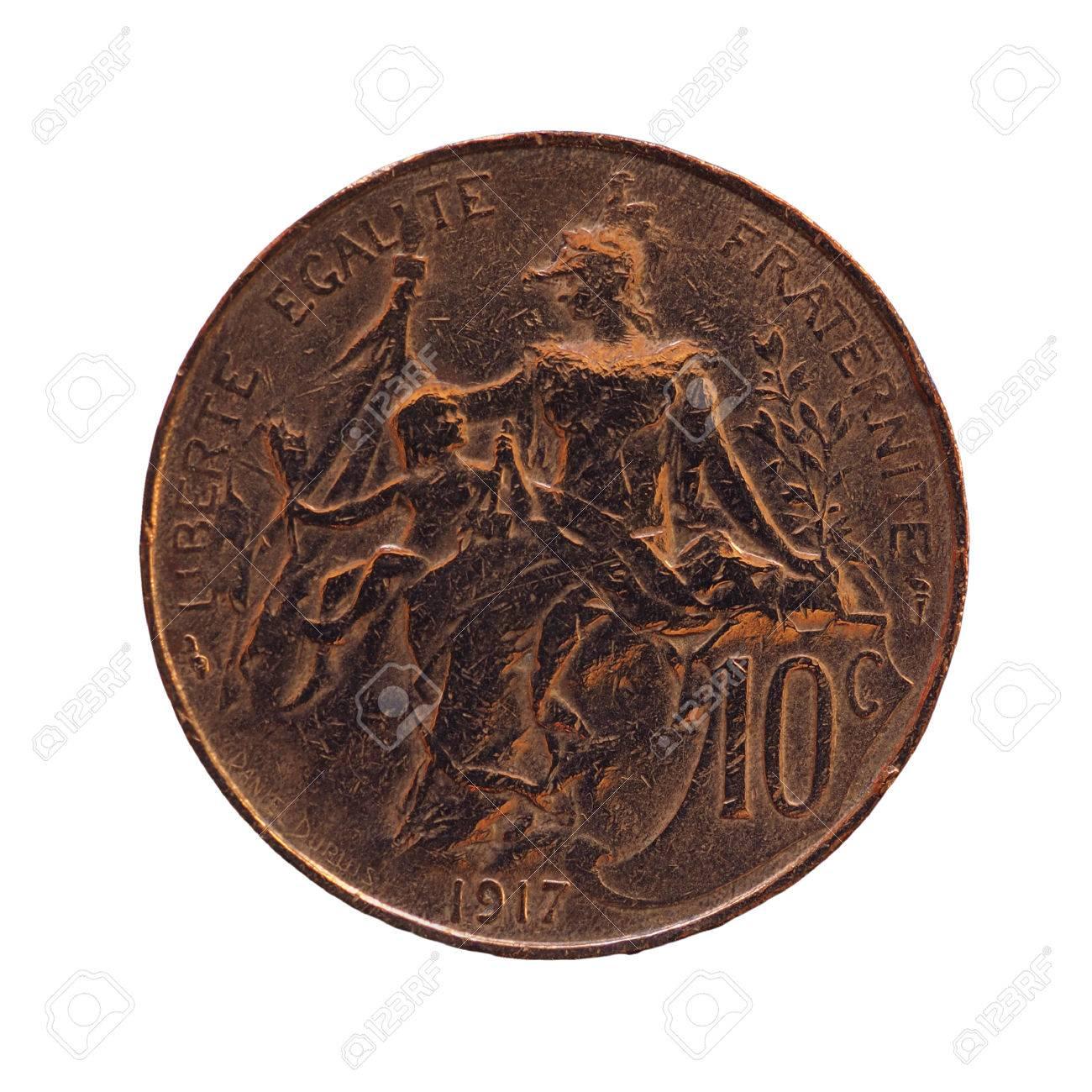 Alte Französische Münze 10 Cent Isoliert über Weißem Hintergrund