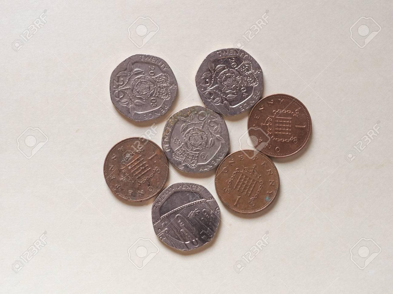 20 Pence Und Ein Penny Pound Münzen Geld Gbp Währung Des