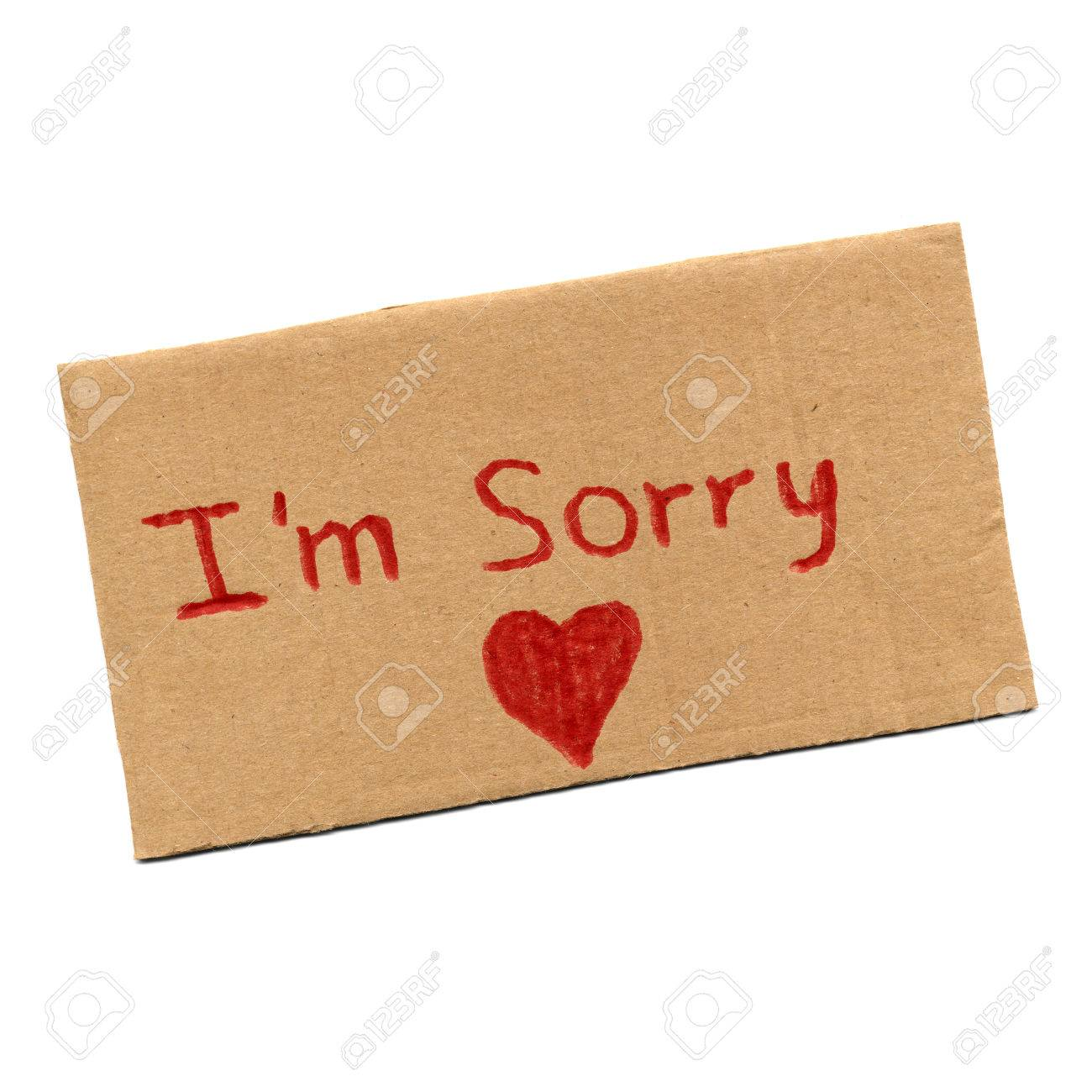 I Am Sorry Sign With Red Heart Symbol Of Love Stock Photo Picture