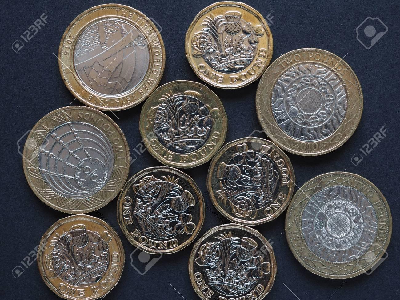 Neue 1 Pfund Und 2 Pfund Münze Geld Gbp Währung Von Großbritannien