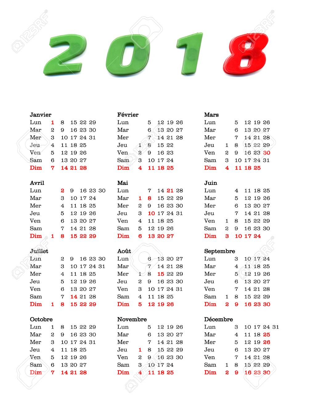 French Calendar Of Year 2018 With Public Holidays And Bank Holidays