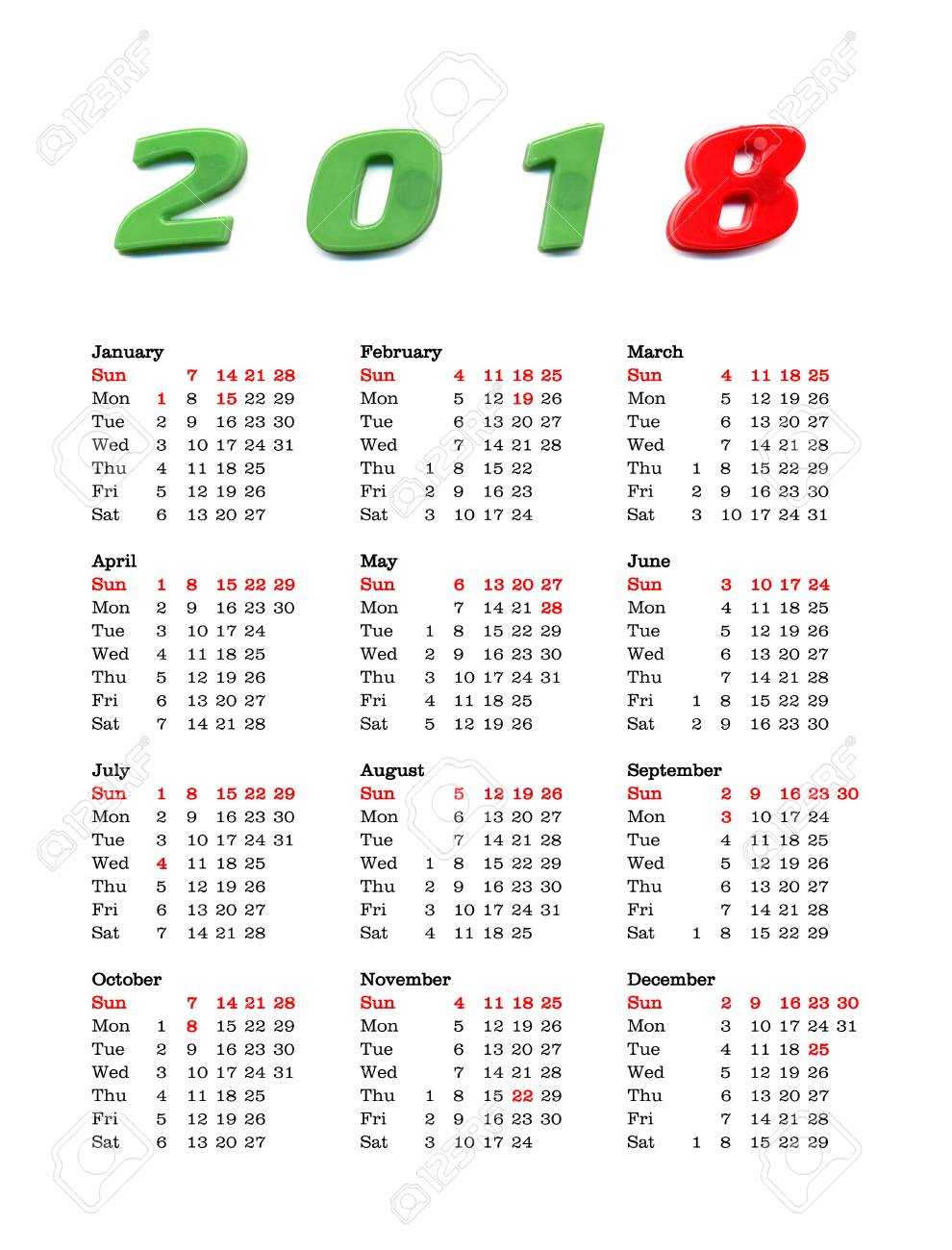 American Calendar Of Year 2018 With Public Holidays And Bank