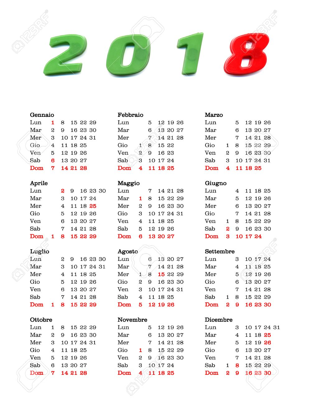 Calendario Nazionali.Calendario Italiano Dell Anno 2018 Con Festivita E Ferie Nazionali Per L Italia