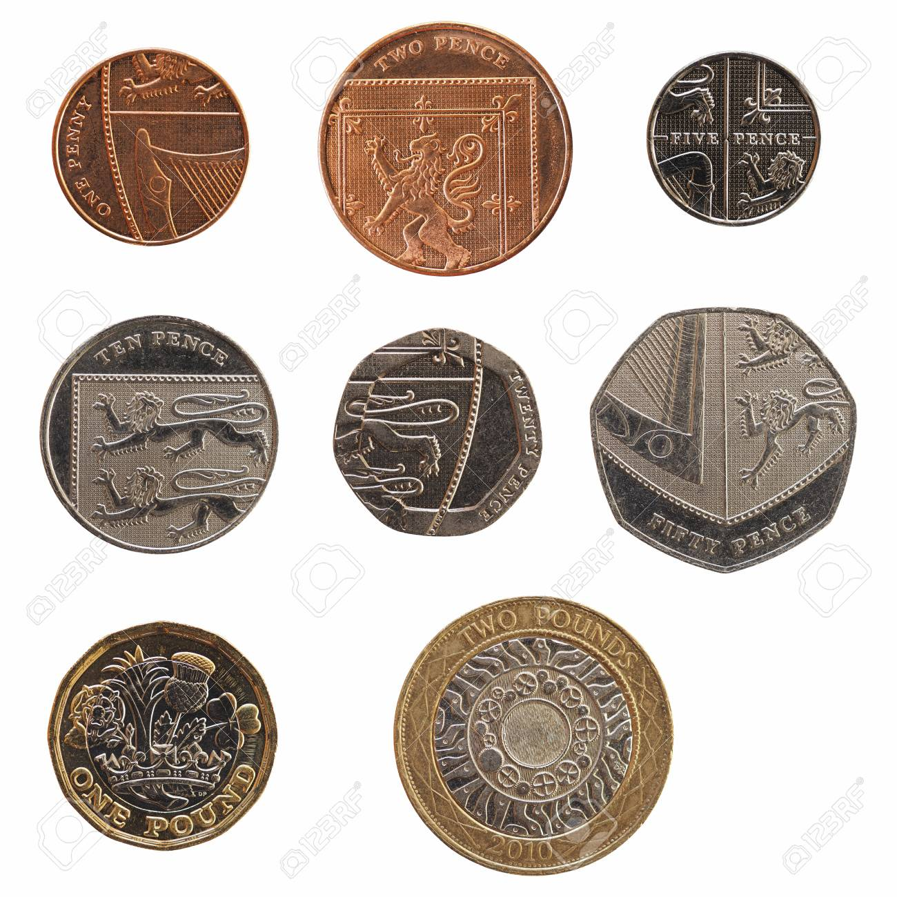 Full range of British coins money (GBP), currency of United Kingdom,
