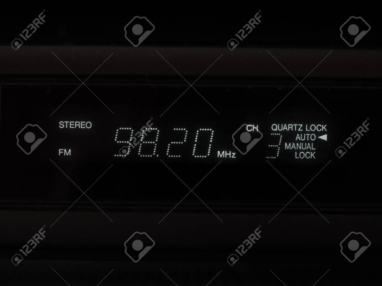 stereo FM radio tuner lcd display showing frequency of tuned