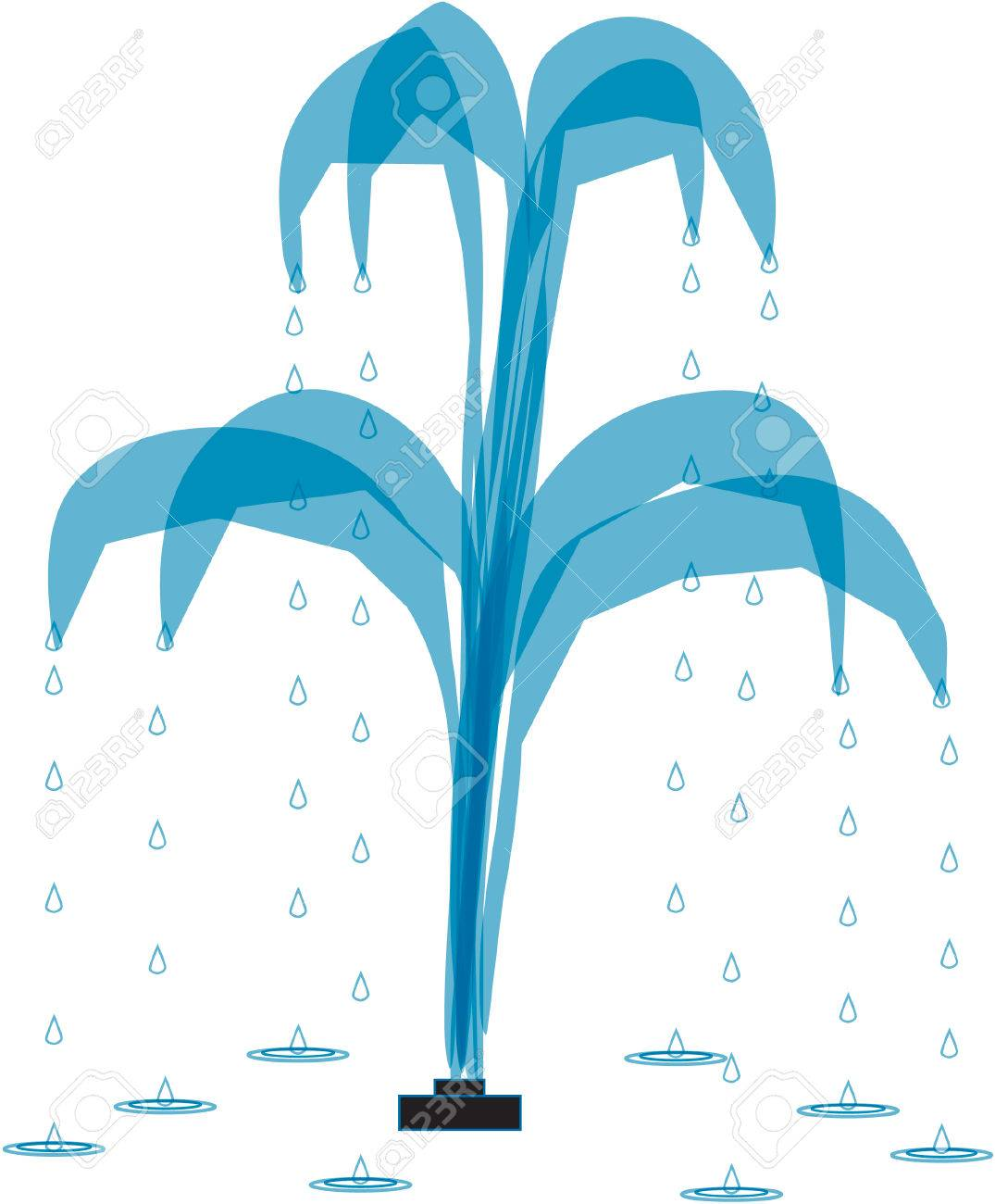 water fountain with four sprayers and droplets royalty free cliparts rh 123rf com water fountain vector free download Cartoon Water Fountain Park