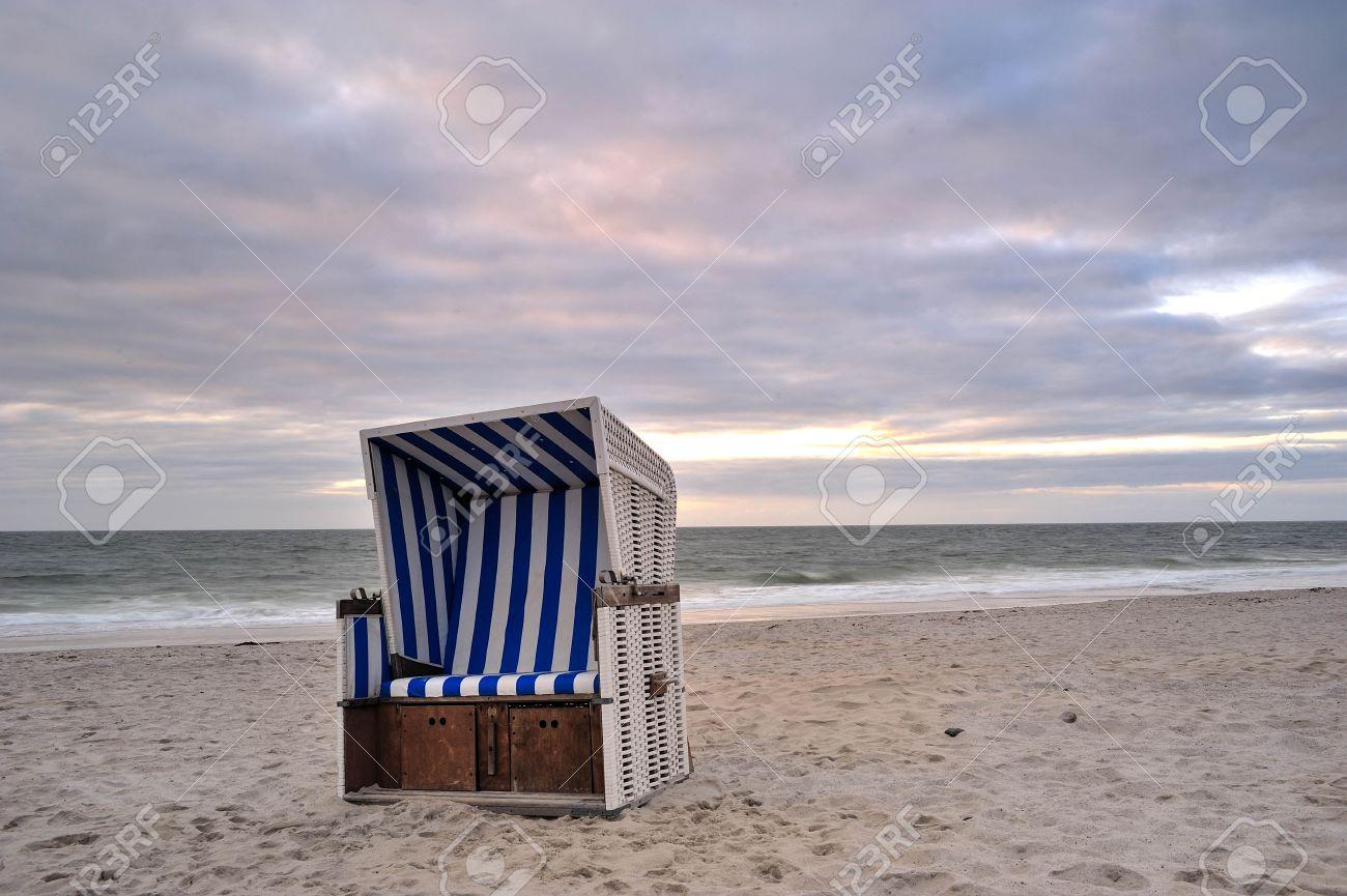 Beach Chair At The Beach Of Island Sylt Germany Stock Photo