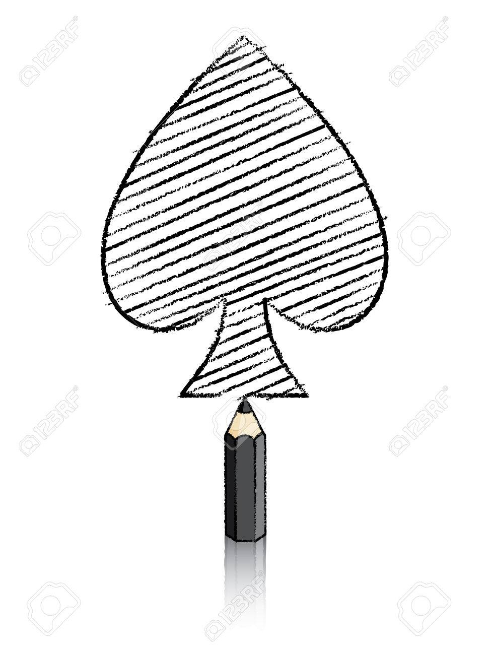 Black pencil with reflection drawing spades playing card icon stock vector 26529765