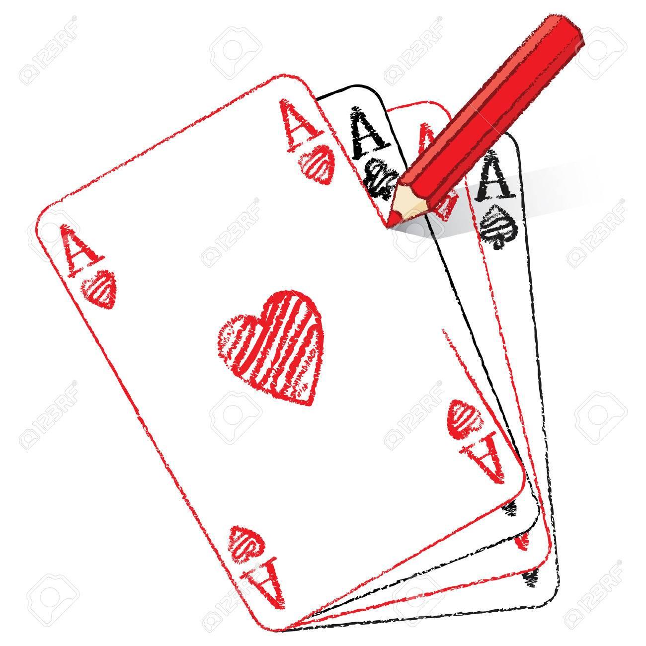 Bien-aimé Dessin Au Crayon Rouge Ace Of Hearts Carte De Jeu Sur Le  HG94