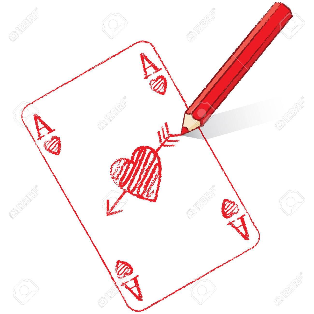 jeu de carte dessin Dessin Au Crayon Rouge Ace Of Hearts Carte De Jeu Avec Les Flèches