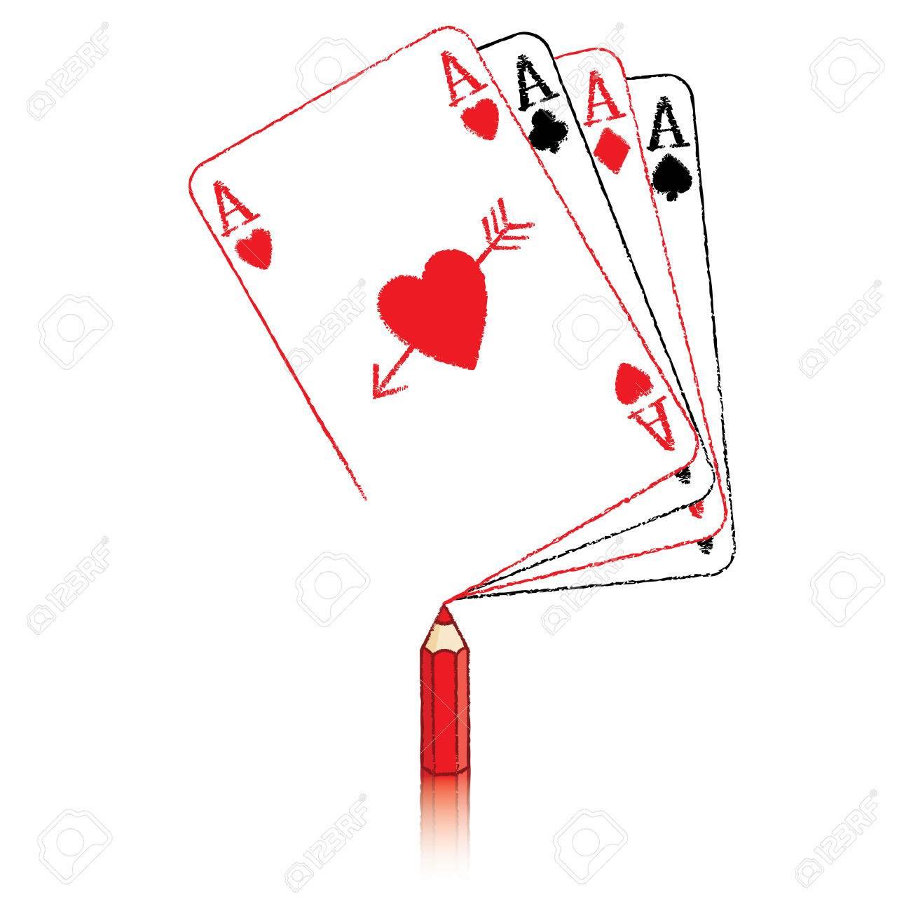 jeu de carte dessin Dessin Au Crayon Rouge Ace Of Hearts Carte De Jeu Sur Fan D'as