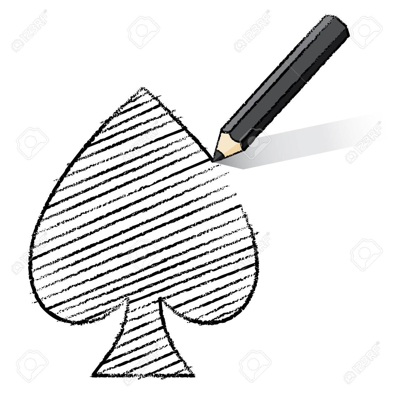 Ilustracion De Negro Dibujo Al Lapiz Y Sombreado As De Corazones