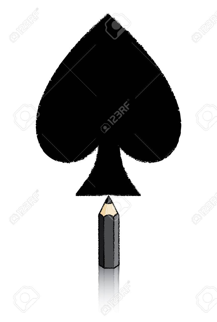 Illustration illustration of black pencil drawing ace of spades icon