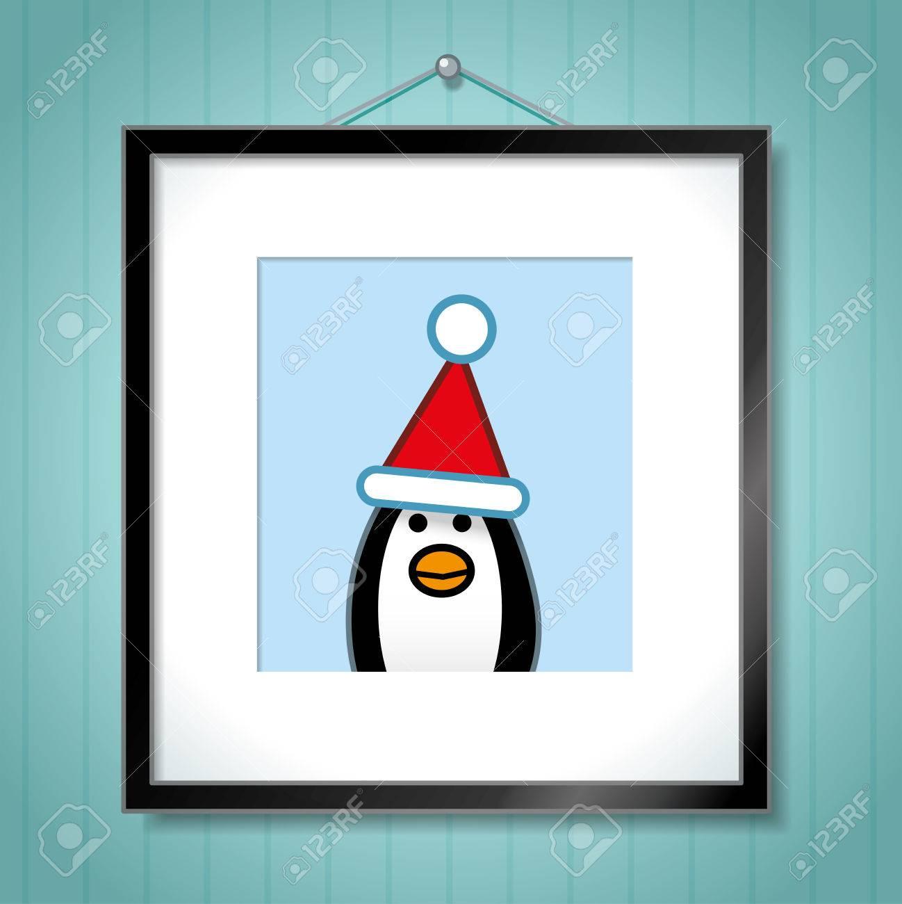 Retrato Lindo Del Pingüino Solo Llevaba Sombrero De Santa En Cuadro ...