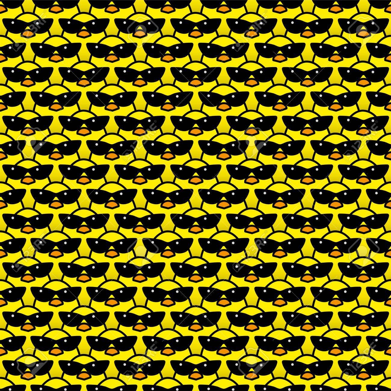 Viele Identische Gelbe Küken Tragen Coole Retro Damen Sonnenbrille