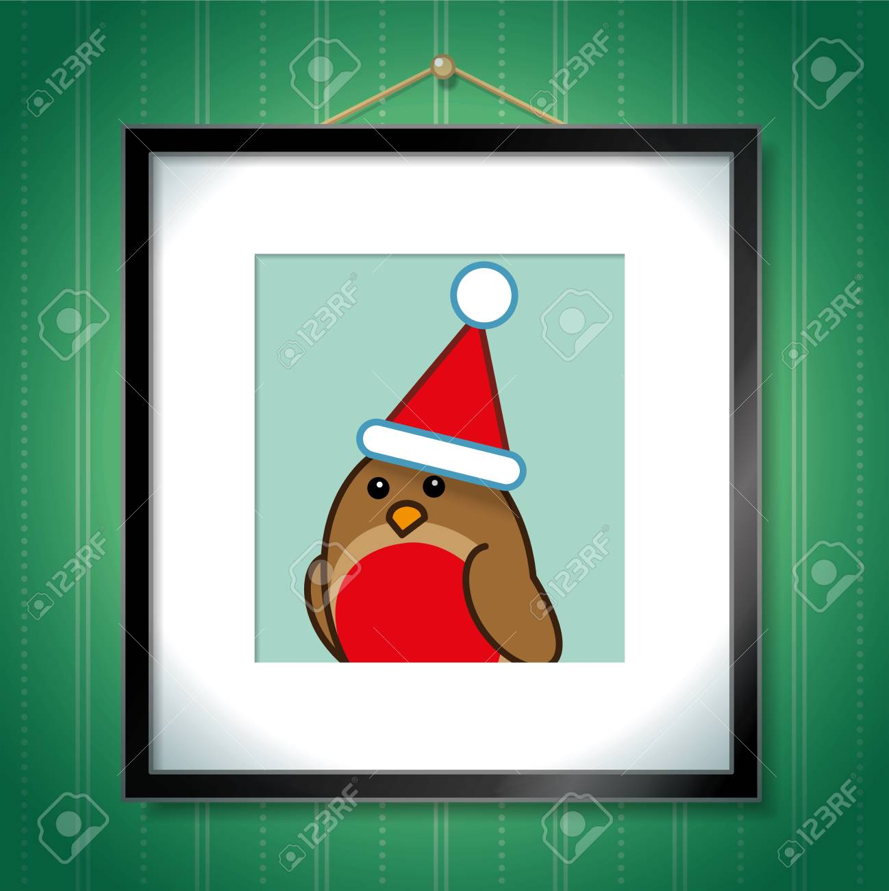 6ad600e7a2b Single Robin Red Breast wearing a Christmas Santa Hat in Picture Frame  Hanging on Green Wallpaper