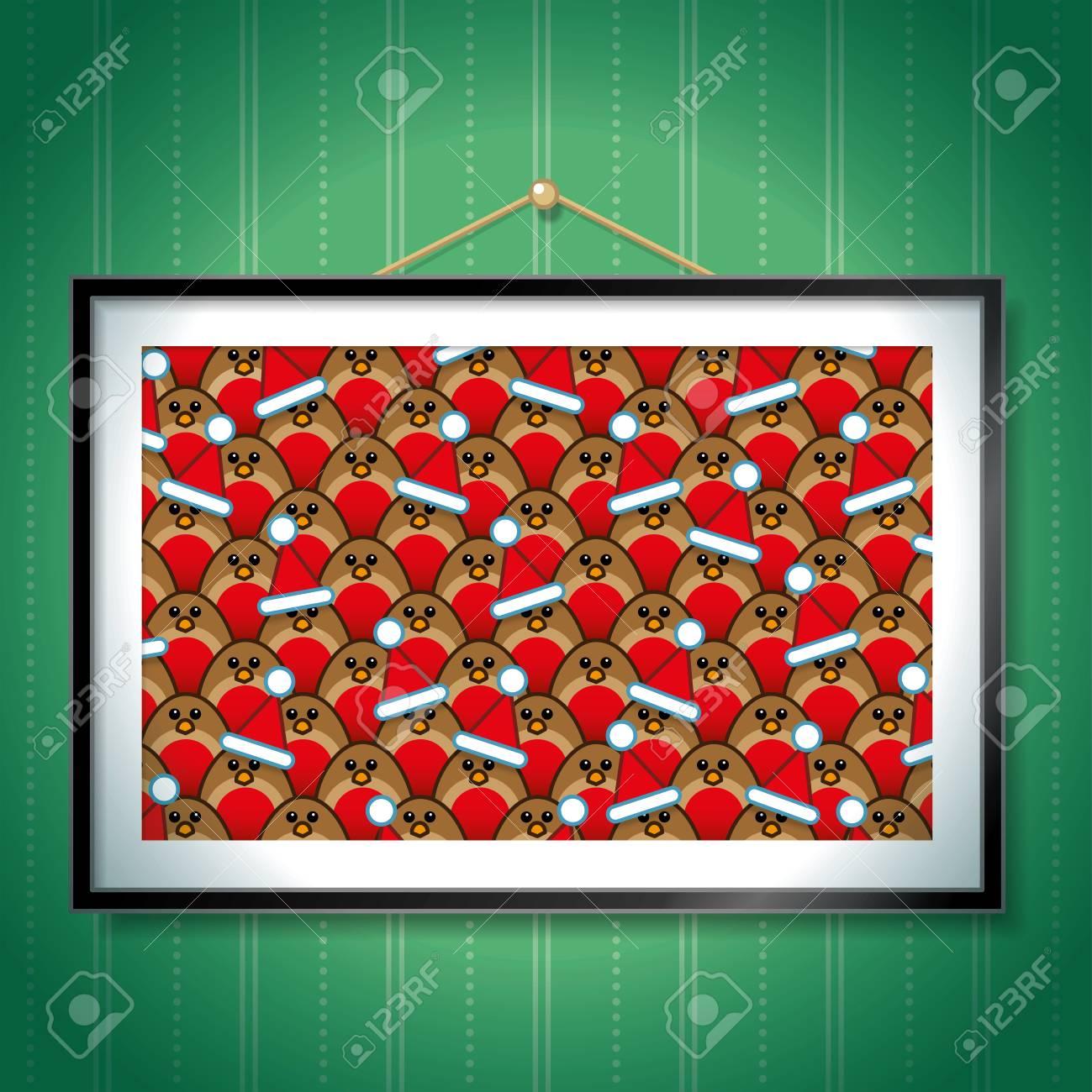 Gruppe Von Robin Red Brüste Tragen Weihnachten Sankt-Hüte In ...