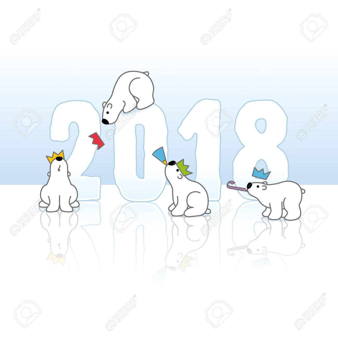 Four Partying Polar Bears And New Year 2018 With Reflections ...