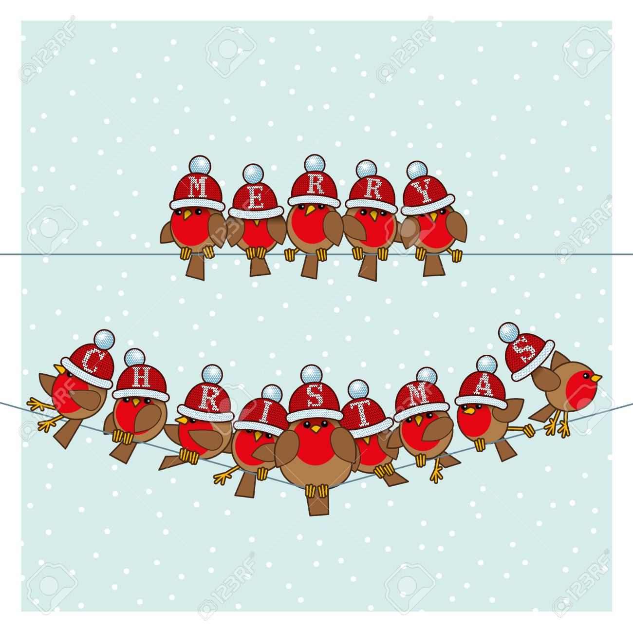 f95db12ddd281 Many Robin Red Breasts wearing Red Santa Woolly Bobble Hats spelling Merry  Christmas sitting on a