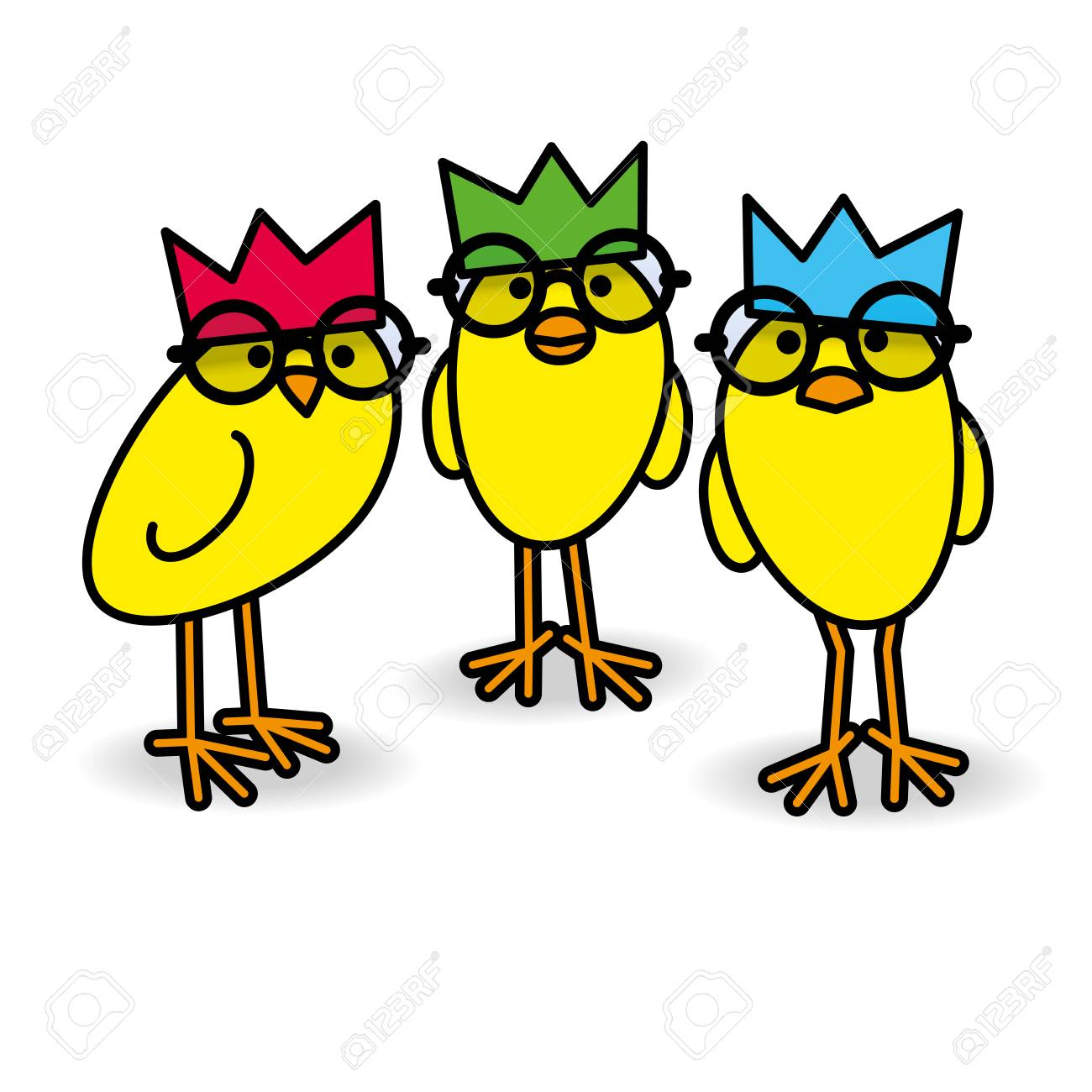 Drei Nette Anstarrende Gelbe Küken, Die Partyhüte Und Schwarze Runde ...