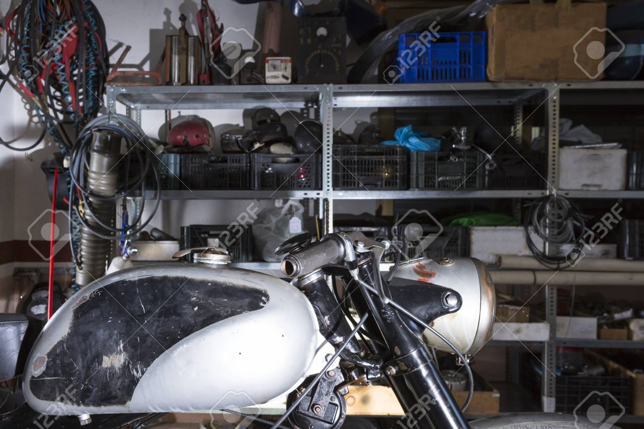 detail of the fuel tank of a classic motorbike ready to be restored