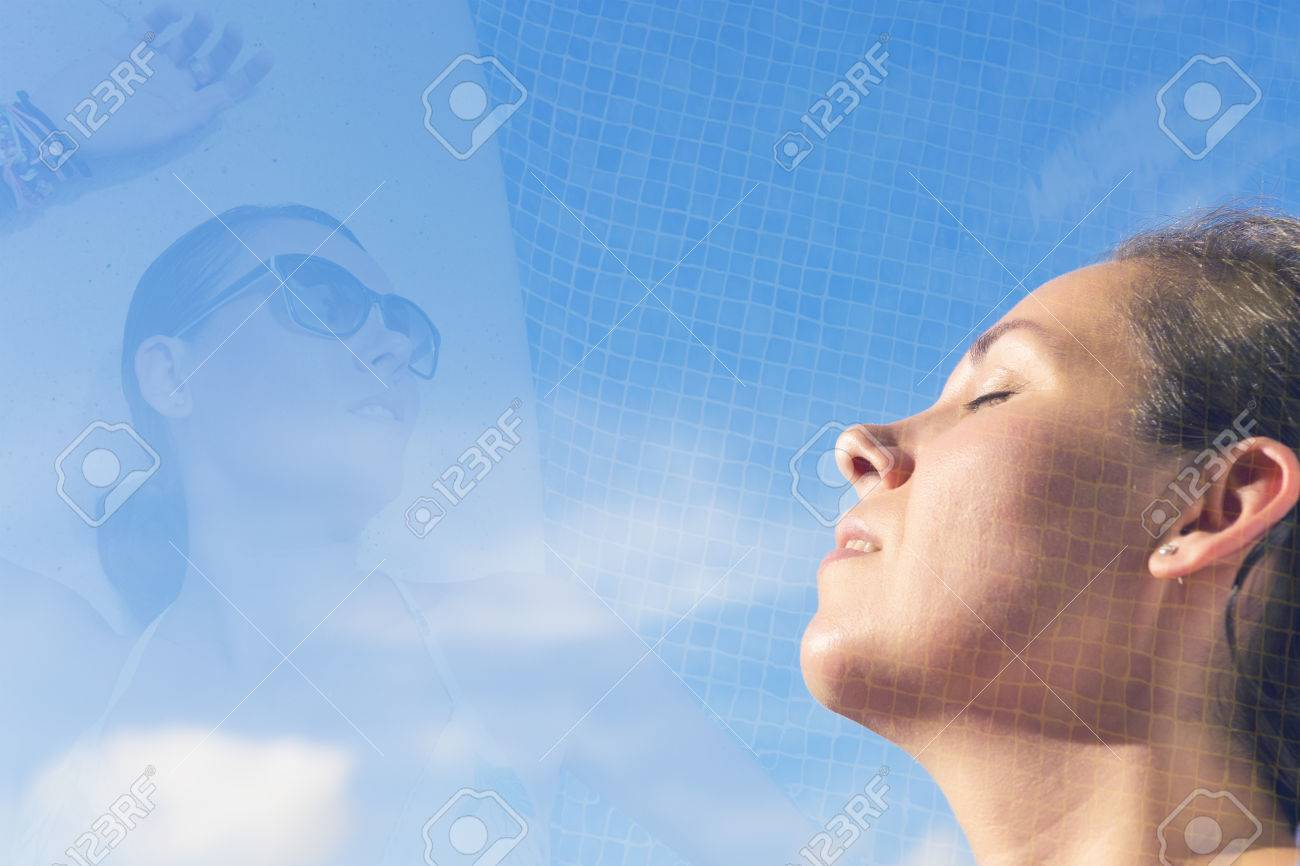 double exposure of a woman breathing fresh air on a dreamy pose