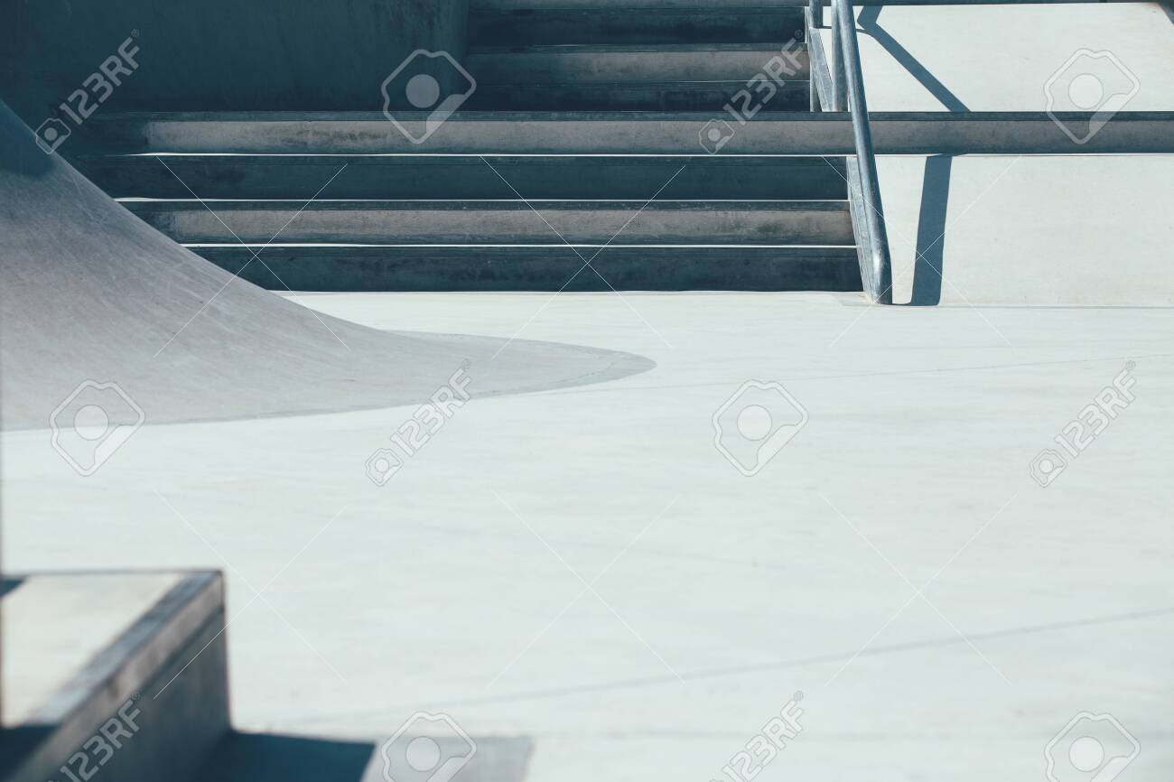 Detail of a ramp and the stairs used as obstacles to make tricks