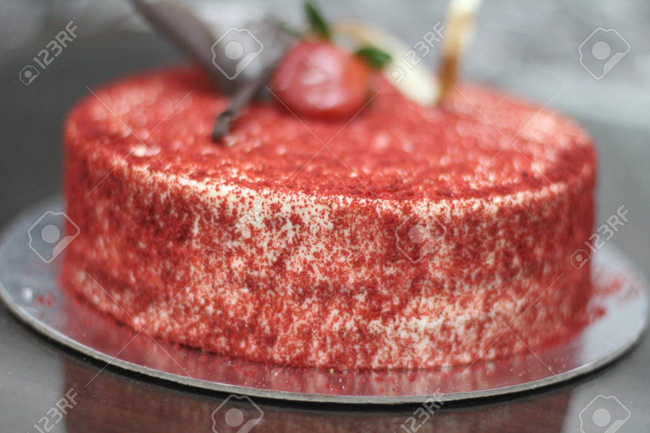 Red Velvet Birthday Cake Stock Photo Picture And Royalty Free Image