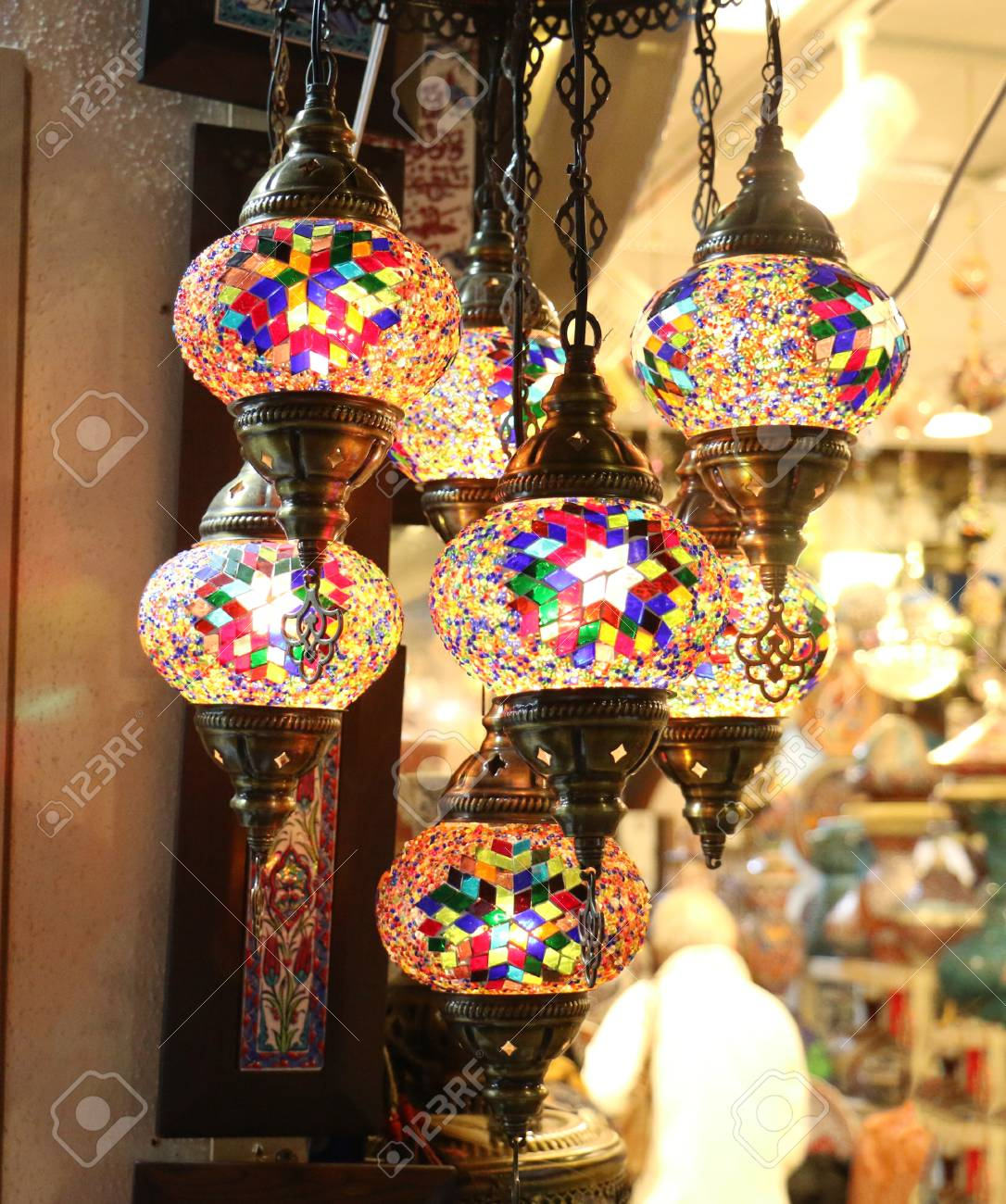 Traditional bright decorative hanging turkish lamps and colourful