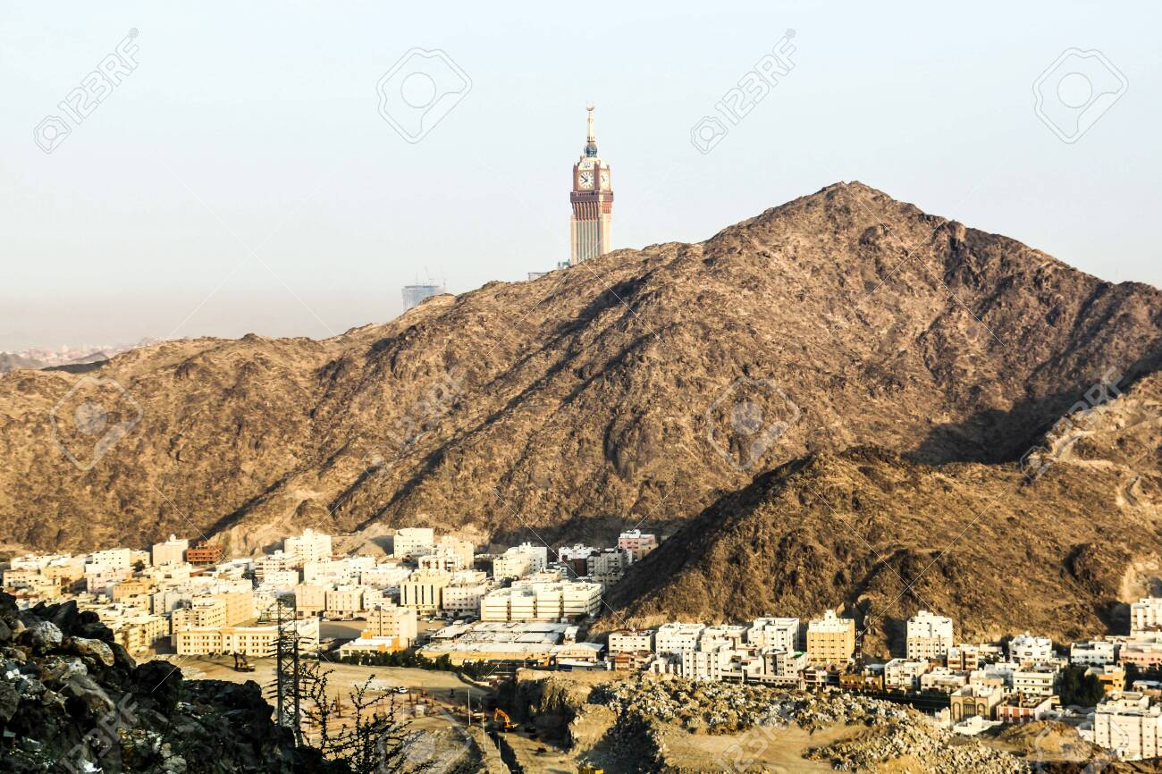 Scenic View Of Makkah Tower Clock Tower Top View And Dry Mountains Stock Photo Picture And Royalty Free Image Image 135522363