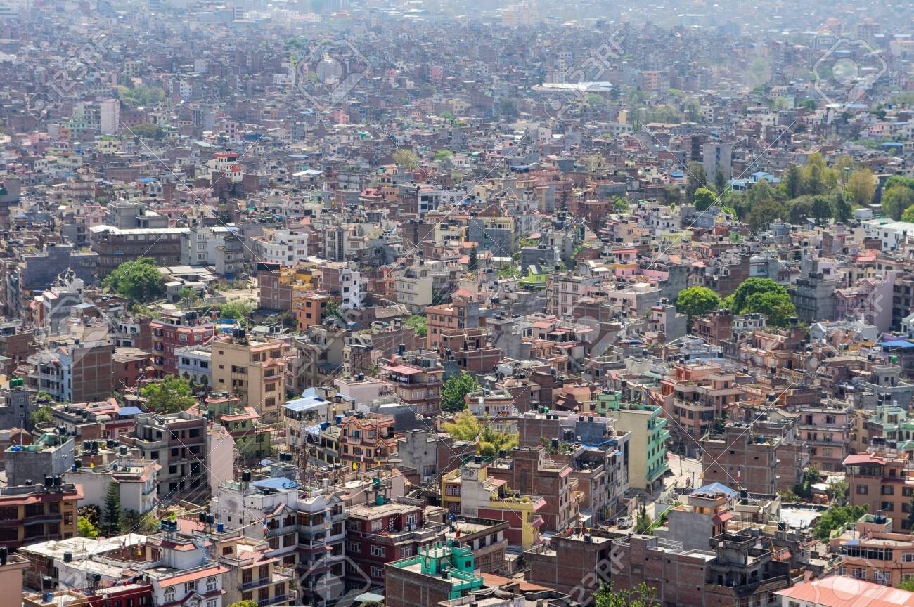 A high angle view of the downtown population density of Kathmandu,