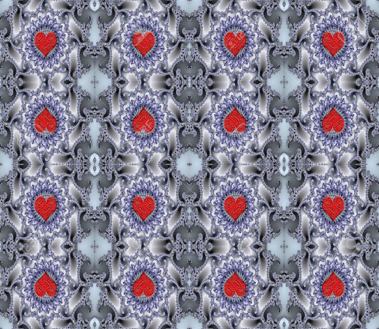 A rich curving pattern, containing Valentine hearts,that tessellates seamlessly. Makes a beautiful background that is ideal for scrapbooking and Valentines day Stock Photo - 693113