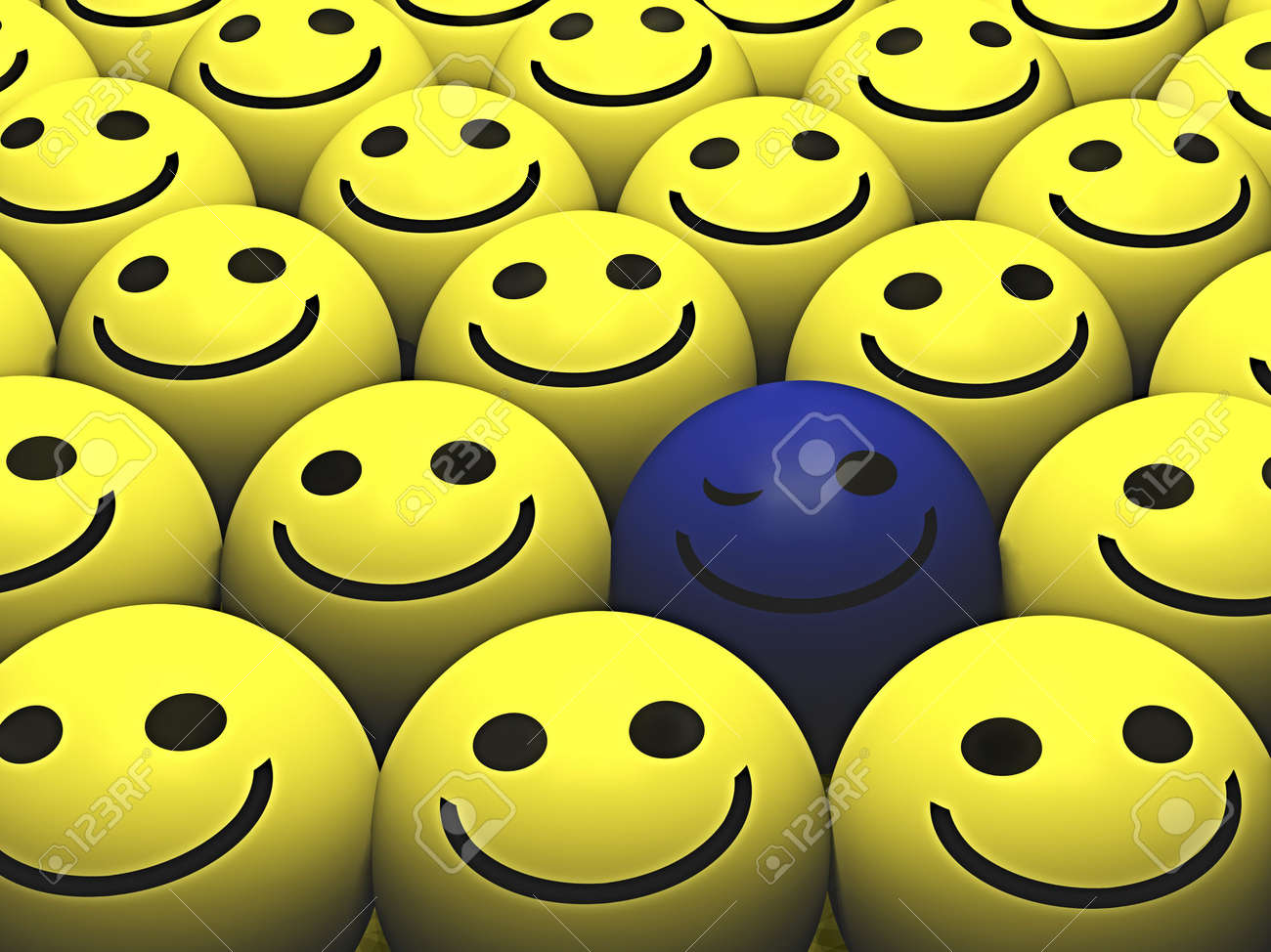 A winking blue smiley stands out from the crowd Stock Photo - 3114686