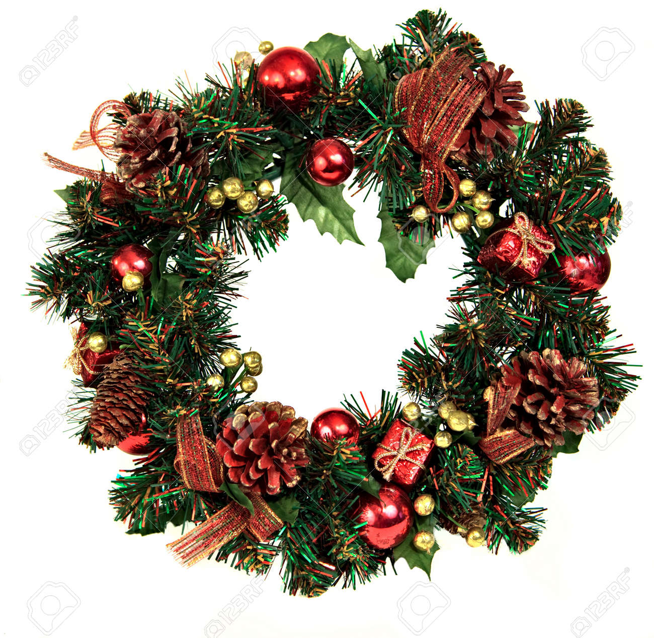 Christmas wreath ornaments - A Decorated Christmas Wreath With Pinecones And Ornaments Stock Photo 5770050