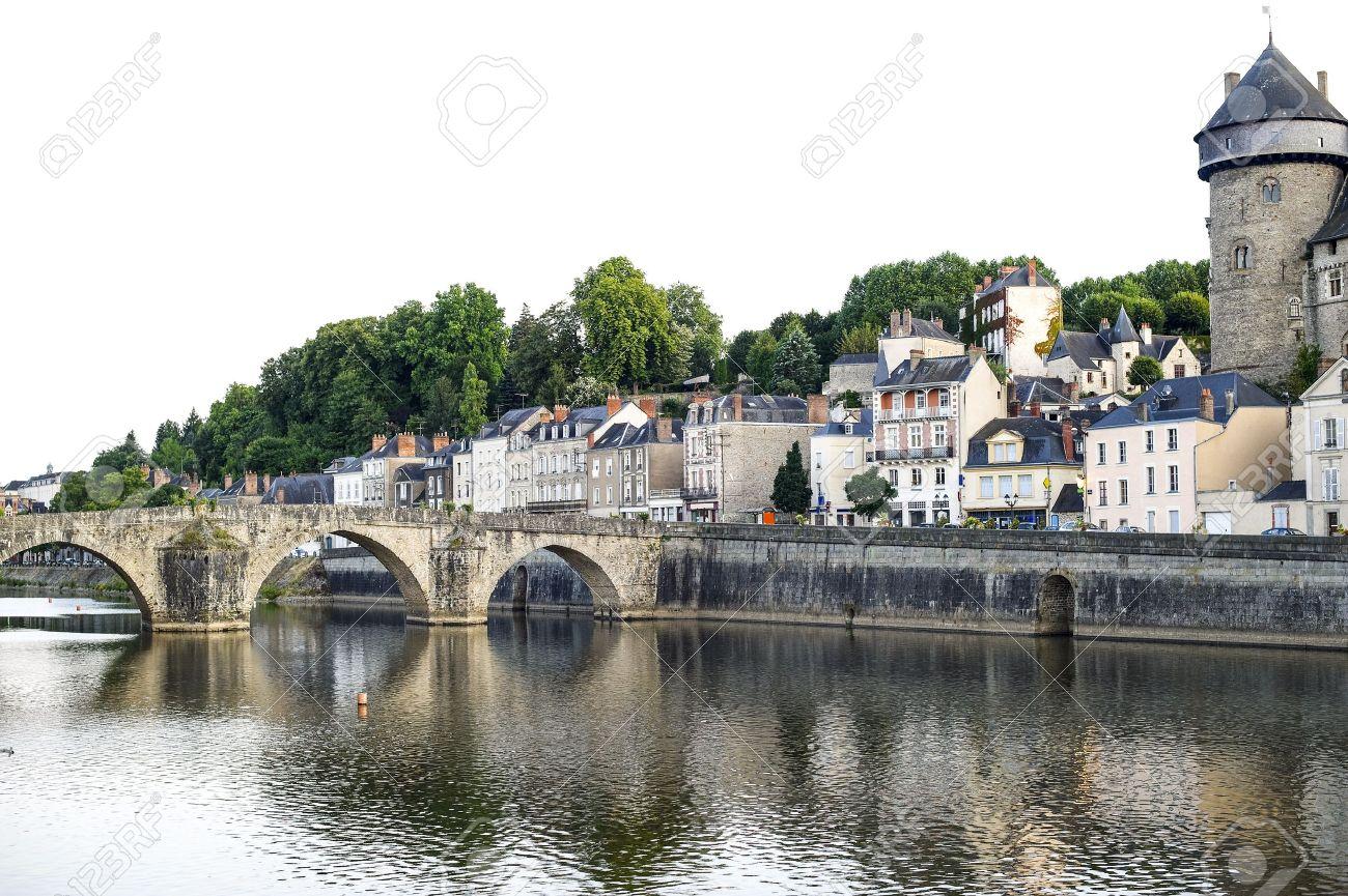 Laval (Mayenne, Pays De La Loire, France)   Ancient Buildings And Bridge