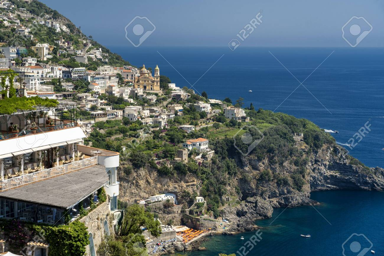 Costiera Amalfitana, Salerno, Campania, Southern Italy: the coast at summer (July): view of Praiano - 134681090