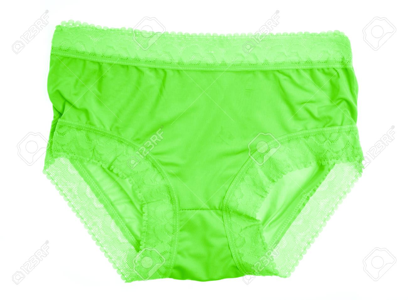 Beautiful female green panties isolated on white background. Sexy underwear  Stock Photo - 84346717
