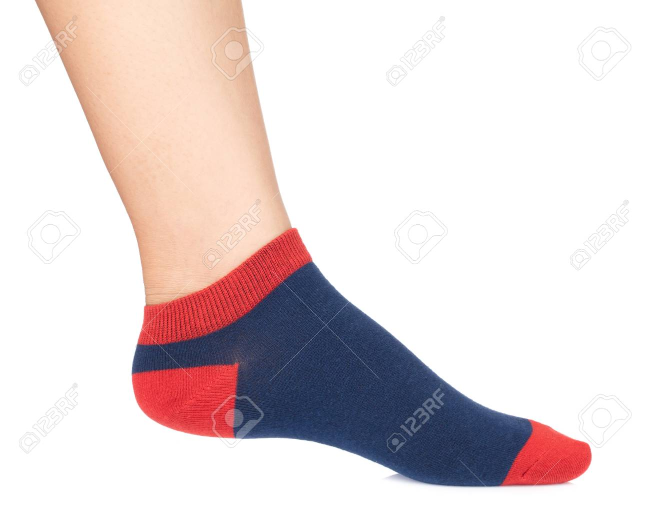 Woman Wearing Blue Socks With Her Feet Isolated On White