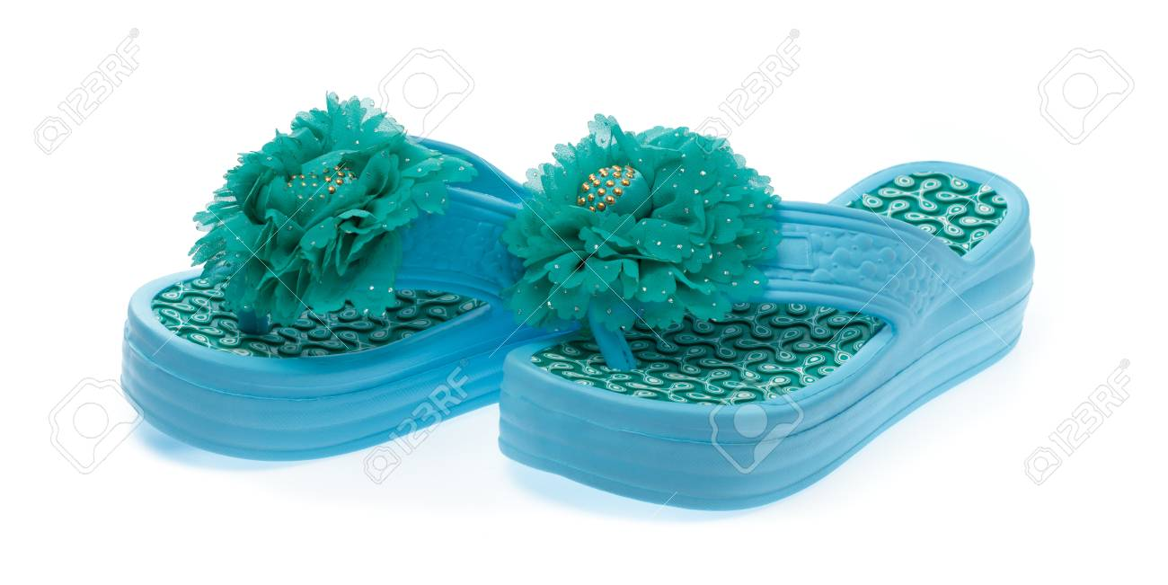 Blue Flip Flops With Flowers Isolated On White Background Stock