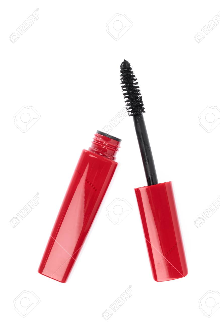 c264a8e74a1 Red mascara Woman's cosmetics isolated on white background Stock Photo -  107494098