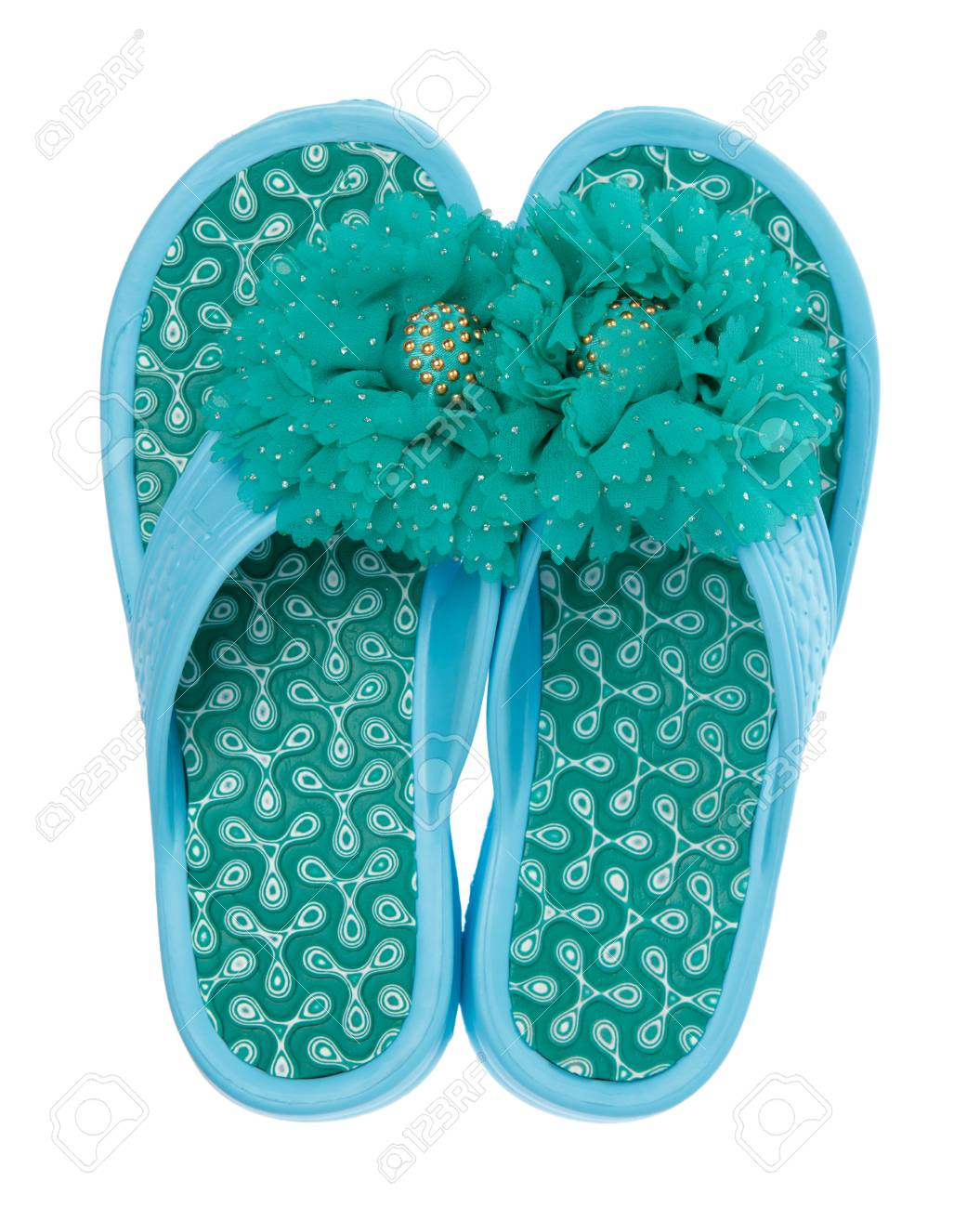 a57a1c4d36d7 Blue flip-flops with flowers isolated on white background Stock Photo -  108573582