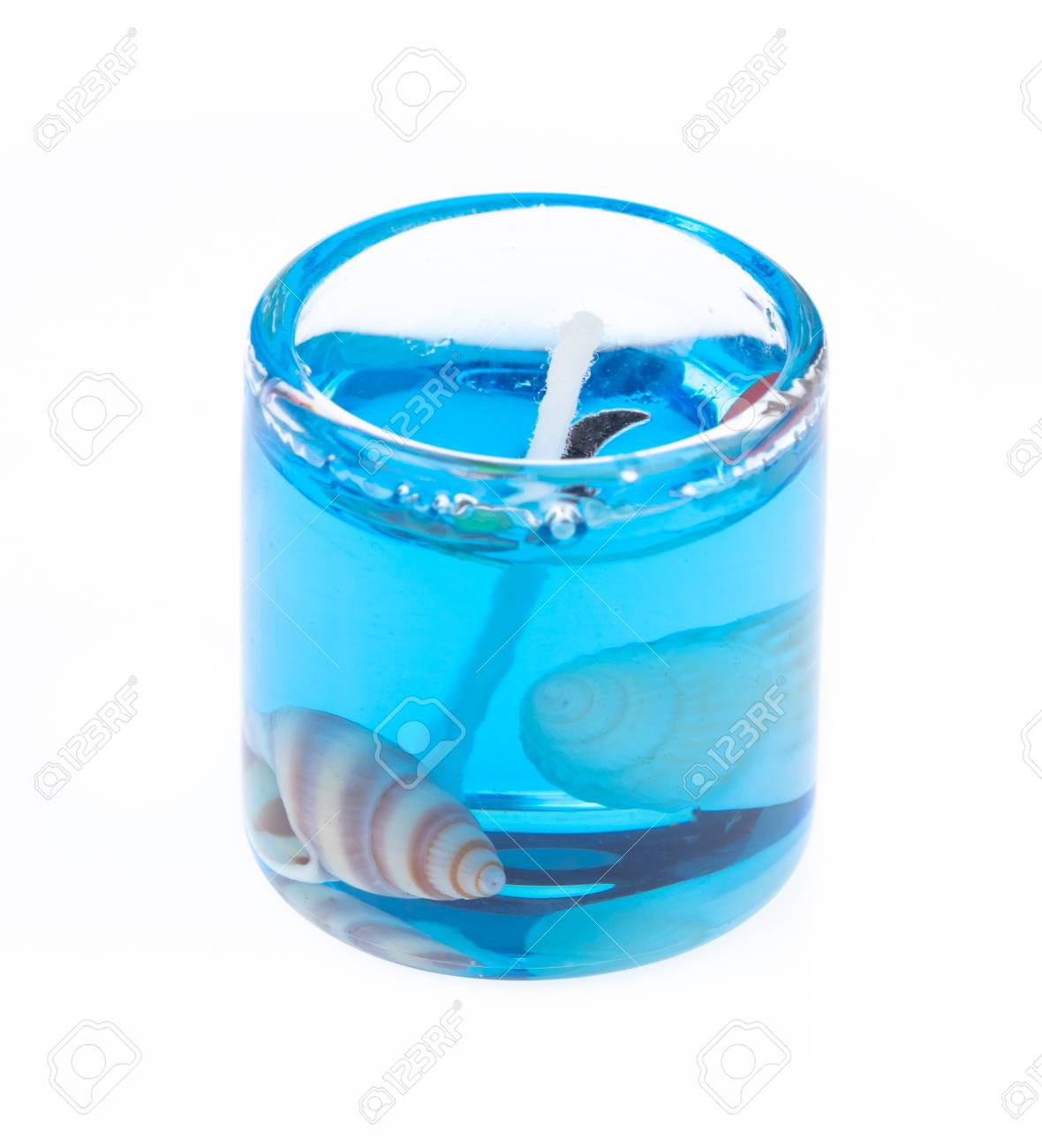 Gel candle in glass isolated on white background