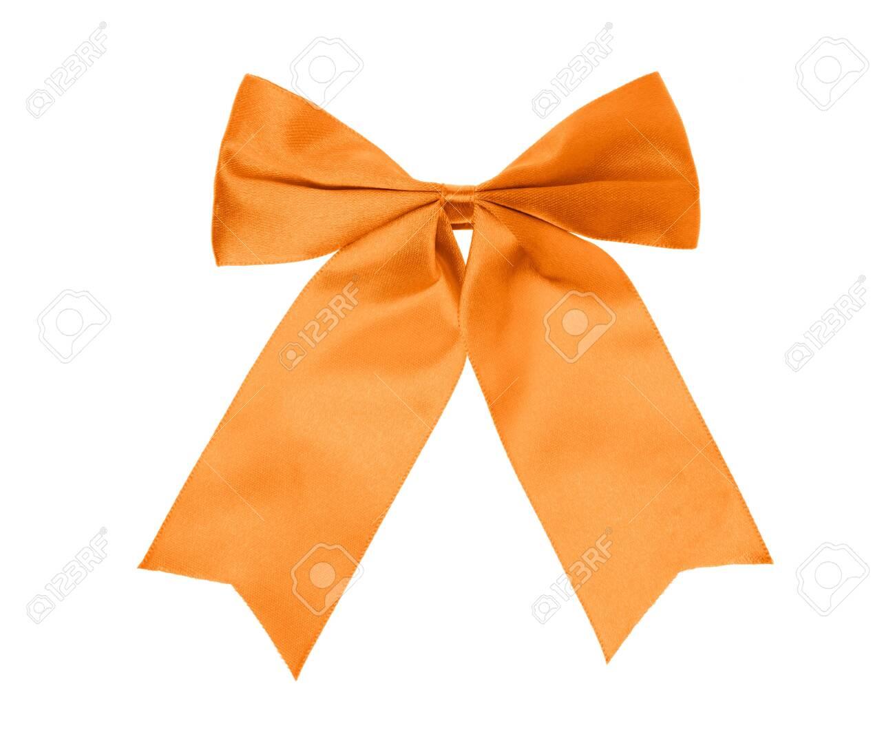 Orange bow isolated on white background. - 130055092