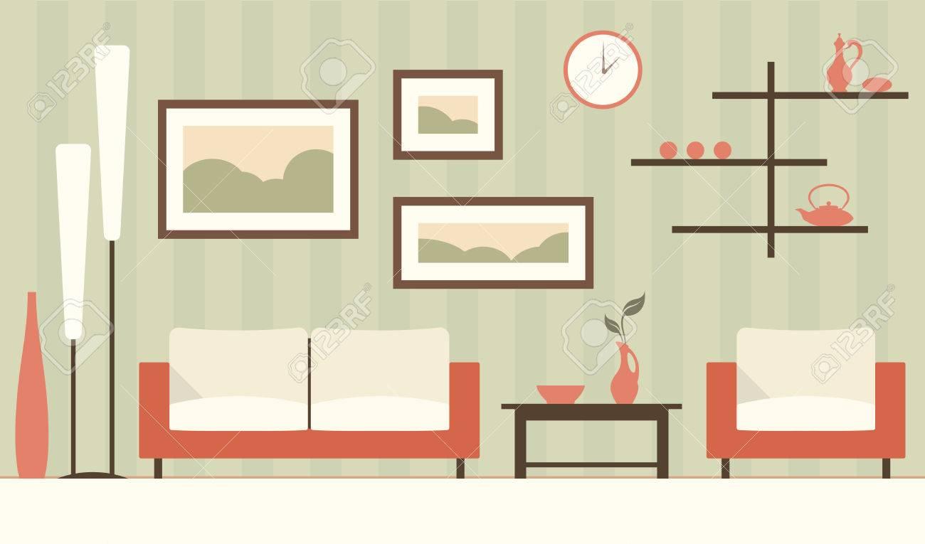 Vector Green Interior Of Cartoon Minimalistic Modern Living Room ...