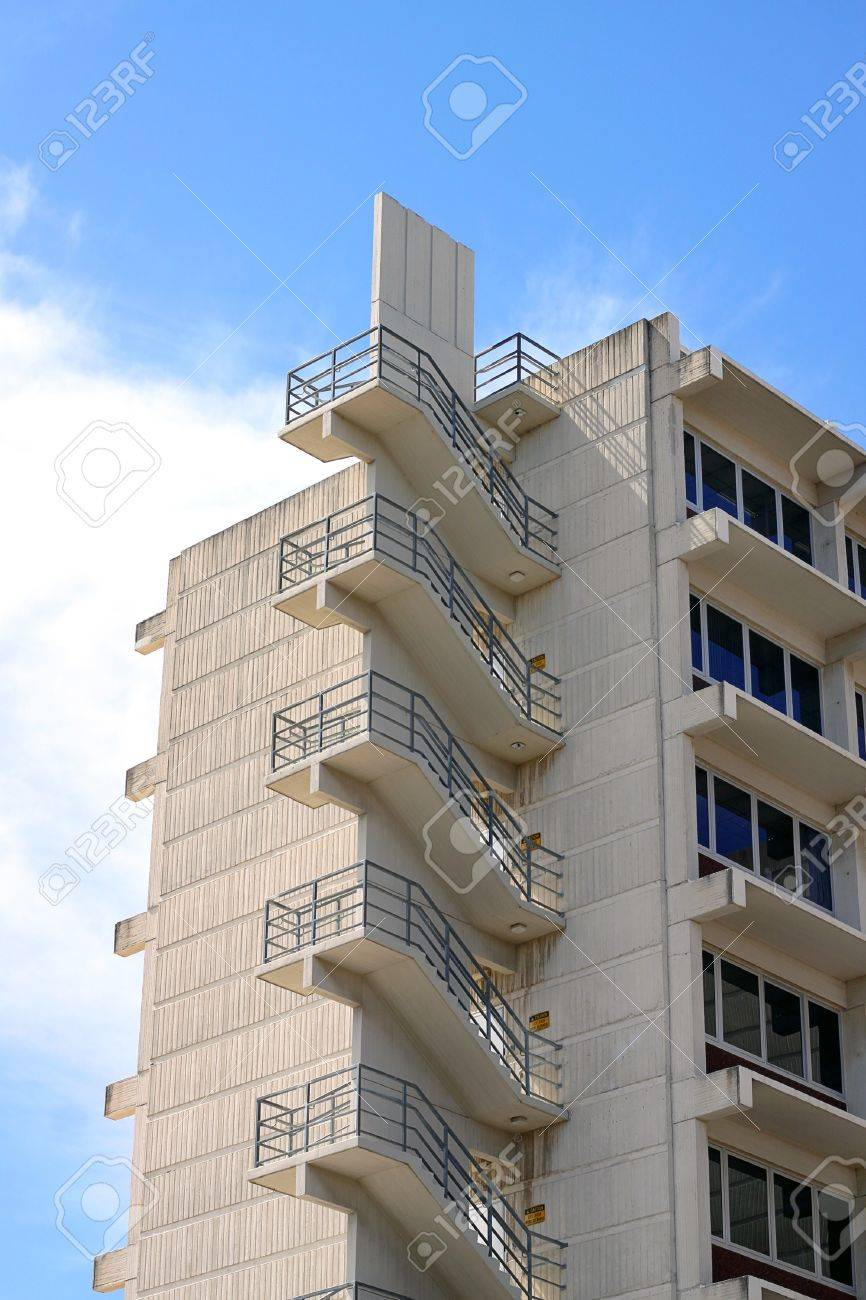 Fire Escape Stairs on Office Building.  Adelaide, Australia Stock Photo - 8258930