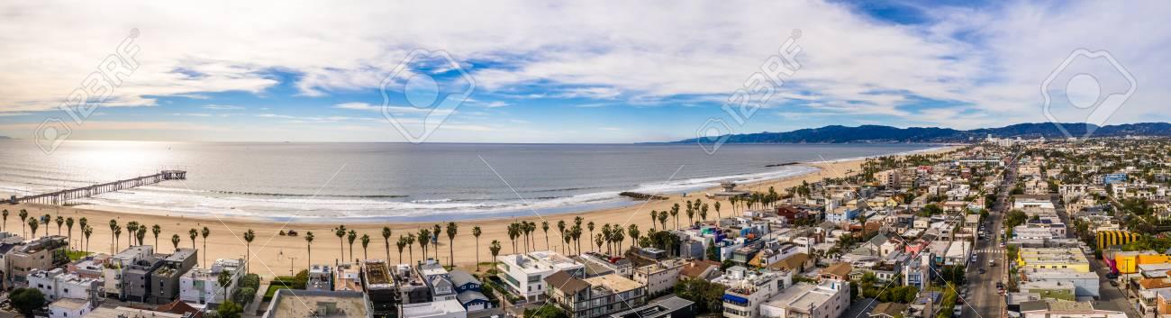 Venice Beach Los Angeles California La Aerial Stock Photo Picture