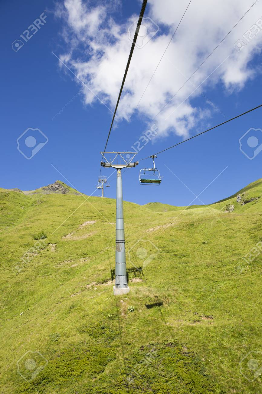 Alpine Landscape In Summer Viewed From The Chair Lift, Alps Mountain  Massif, Cantons Vaud