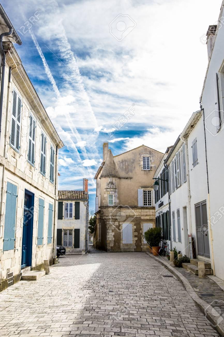 little street of village of ars en re ile de re france stock photo