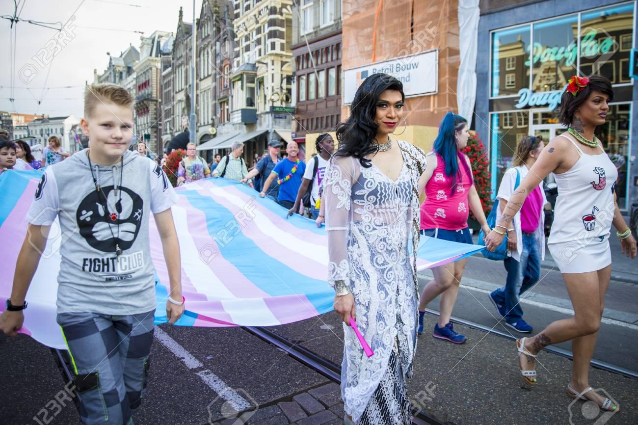 Amsterdam, the Netherlands - July 23, 2016: transgender woman marching at  Pride Walk